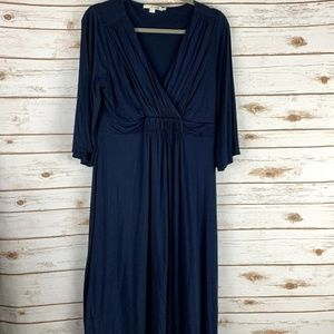 Boden wrap dress 12L navy blue stretch v neck